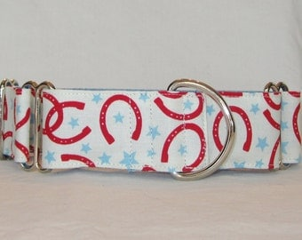 SALE Red Horseshoe Martingale Dog Collar - 1.5 Inch - blue white red star horse cowboy cowgirl fun rodeo
