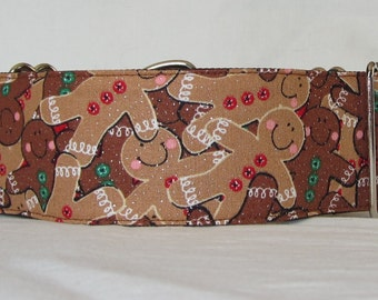 Sparkling Gingerbread Martingale Dog Collar - 1.5 or 2 Inch - holiday cookie man brown green red fun
