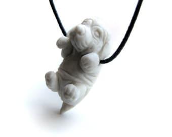 Saint Bernard dog porcelain pendant