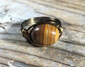 bohemian handmade Zebra Jade stone antique brass / gold wire wrapped ring - size 8.25 , 8 1/4 brown tan gemstone jewelry men women unisex