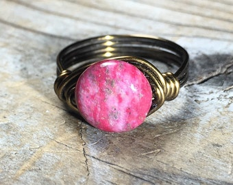 size 8.25 , 8 1/4 Dragon Blood Stone pink Rose, antique brass gold wire wrapped ring - handmade bright fuschia jewelry women bohemian