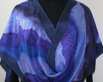 Lavender Purple Blue Silk Scarf Hand Painted. Chiffon Silk Shawl  Hand Dyed, PURPLE WATERS-2, in Four SIZES. Birthday Gift, Anniversary Gift