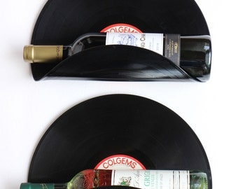 The monkees Upcycled Vinyl Record Wine Rack Wall Organizer - Set of 2