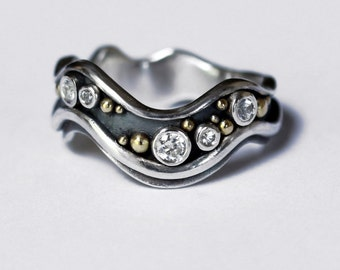 White Sapphire Stream Ring - Ready to Send UK Size P