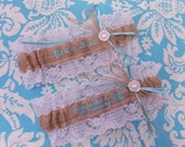 Burlap and lace, name garter, You're Next Wedding Garter Embroidered with blue font and pearl throw garter toss garter, names garter