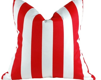 Indoor/Outdoor Canopy Red Stripe Square Pillow Cover, Patio Pillow Cover, Decorative Pillow Cover