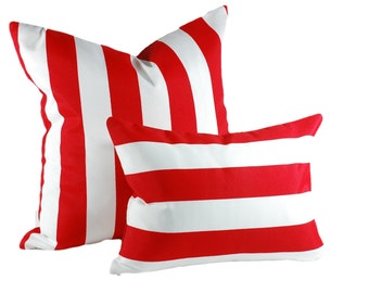 Lumbar Pillow in Cherry Red Stripe Canopy, Indoor / Outdoor Fabric, Patio Pillow, Select Your Size