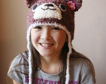 Crochet Pink/ Brown Fuzzy Bear Hat (Teen - Small Adut size)
