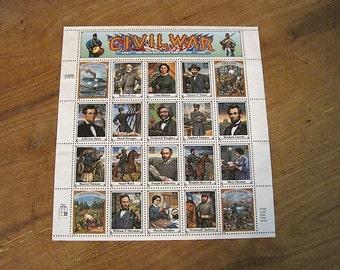 Sheet of 20 Unused 1995 Civil War US Postage Stamps