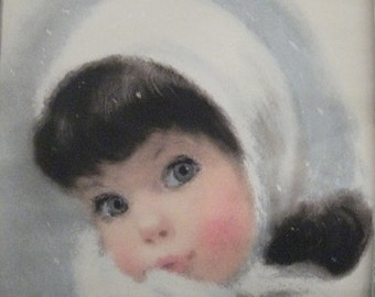 "Vintage Mid Century  Oil painting Print baby Portrait  Wood frame/ Vintage wooden framed baby portrait/ 16.5"" x 13.5""/ Vintage painting"