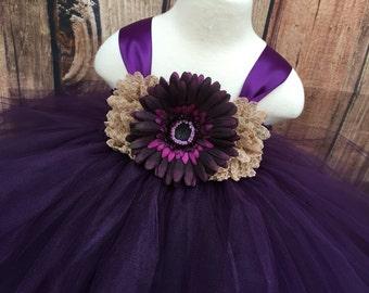 Plum girls tulle dress, plum girls dress, plum wedding, girls eggplant tulle flower girl dress, tulle flower girl dress