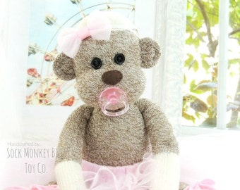 Sock Monkey Ballerina Baby Doll with Pacifier, more Colors Available, Gifts for Girls, Made When Ordered