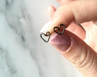 Tiny Black Hematite Heart Earrings, Teeny Tiny Stud Earrings, Geometric Black Hematite Earrings, Minimalistic Heart Stud Earrings