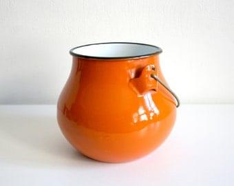 Orange Enamel Bucket