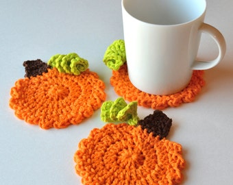 Pumpkin Coasters, Set of 4 or 6, Perfect Housewarming or Hostess Gift, Autumn or Fall Decor, Halloween and Thanksgiving Crochet Coasters