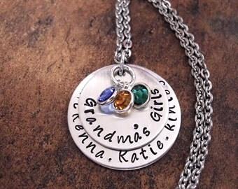 Grandma Jewelry, Grandma's Girls, Grandmother Jewelry, Nana Necklace, Personalized Jewelry, Mommy's Girls Jewelry, Jewelry for Grandma