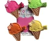 ice cream cone, hair clip, ice cream clip, ice cream hair clip, ice cream hair bow, baby hair clip, ice cream cone bow, felt hair clip