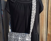 Cross Body Messenger Bag with zipper closure and lots of pockets - Black and gray scroll flowers