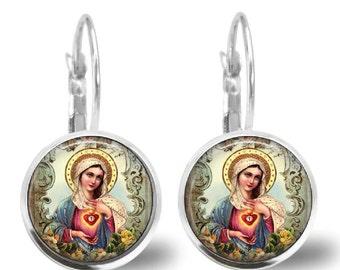 Sacred Heart Virgin Mary Earrings Glass Tile Earrings Silver Plated Leverback Holy Mother  Religious Earrings