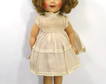 1950's Shirley Temple Doll - Vinyl with Original Organza Dress - ST-12-N Ideal Jointed Doll