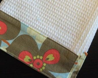 Kitchen Towel, Hand Towel, Tea Towel, Waffle Weave Towel, Dish Towel, Kitchen Hand Towel-Blue Floral