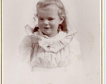 Vintage Photo, Cabinet Photo, Beautiful Little Girl, Childhood, Black & White Photo, Victorian Photo, Studio Portrait, Found Photo