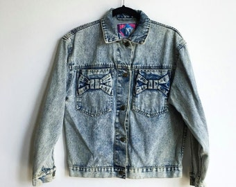 Vintage 90s Denim Acid Wash Bow Jacket / Blue Faded Jean Jacket / Size 14