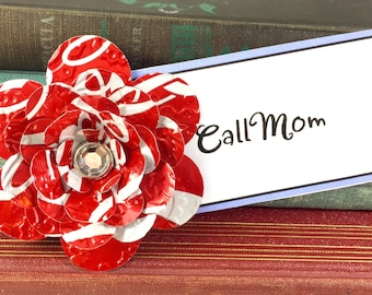 Coca Cola Flower Magnet.  Recycled Soda Pop Can Art.  6 Layer Flower - Heavy Duty Magnet.