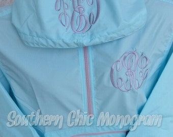 Personalized Monogrammed Charles River Pack-N-Go light weight rain jacket windbreaker Bridesmaid Gift Graduation gift greek sorority