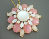 Statement Necklace - Flower Necklace - Gold Necklace - Pink and White Necklace - Layering Necklace - One of a Kind - Handmade Necklace