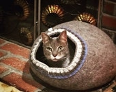 Pet bed - cat cave - cat house - dog bed - handmade wool cat bed - eco - grey - white - brown - pet gift