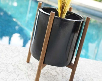 "12"" Modern Quad Base Planter & Stand Mid Century - Eames Era Architectural Vintage Style Pottery"