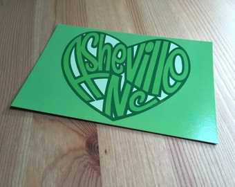 Asheville Postcard Heart, North Carolina Souvenir, Recycled Paper Stationary, Asheville North Carolina, Sprouted Scribbles Illustration