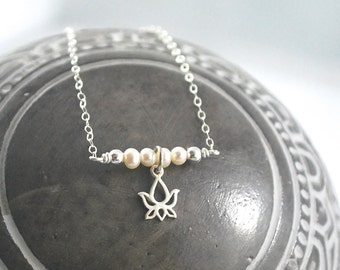 Freshwater Pearl + Lotus Bar Sterling silver necklace Layering necklace dainty pearl Lotus necklace silver simple necklace no mud no lotus