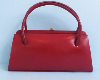 Vintage 1950's-60's Red Leather Purse/50's Red Leather Handbag/50's French Handbag/Red Top Handle Purse/50's Red Leather Bag