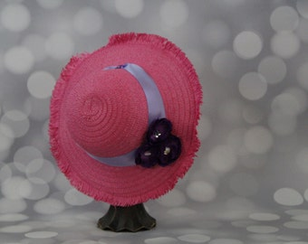 Tea Party Hat;  Pink Easter Bonnet with Ribbon; Girls Sun Hat; Pink Easter Hat; Sunday Dress Hat; Derby Hat; 16258
