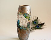 Butterfly Vase, Hand painted Vase, Copper Vase, Stained Glass Vase, Peacock Vase