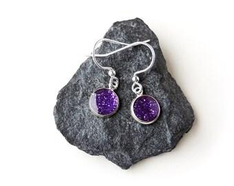 Little Purple Earrings, Small Purple Glitter Charm Earrings, Purple Drop Earrings, Resin Jewellery, Purple Jewellery, UK (733)