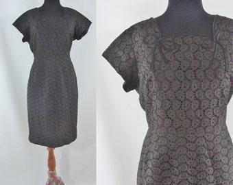 Vintage Fifties Dress - 1950s Black Eyelet Dress - 50s Lace Wiggle Dress with Satin Trim - XL 50s Dress - Plus Size Fifties Dress