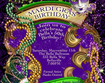 Mardi Gras Party, Party Invitations, Masquerade Invitations, Mardi Gras Invitations
