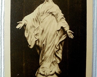 French Vintage Unused Postcard - The Virgin of the Smile Statue