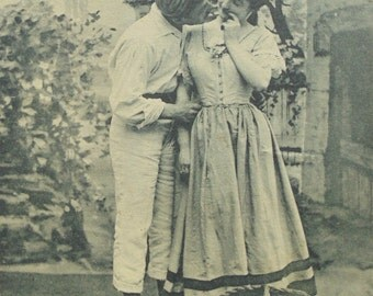 French Antique Postcard - Normandy Idyll (Country Couple)