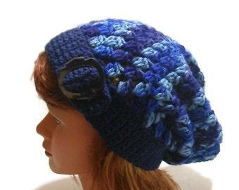 Buckle Tab Hat, Ombre Blue Hat, Blue Slouchy Hat, Crochet Slouchy Hat, Blue Beanie, Open Stitch Hat, Mesh Beanie, Dark Blue Hat, Buckle Tab