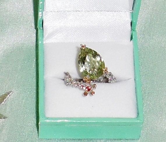 Natural 10 x 15mm Pear Green Amethyst gemstone, 14kt Rose gold, Sterling Silver Ring FREESIZE