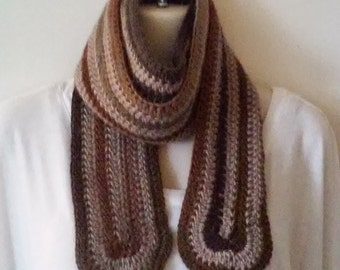 Crochet Scarf - Mixed Browns