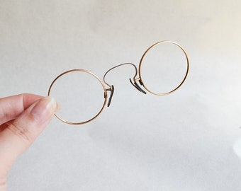 Victorian Edwardian rolled gold pince nez spectacles / 1800 1900 eyeglasses frames