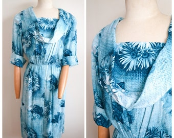 1950s 60s novelty print Rose / sunflower teal cotton dress, with cowl neck - L