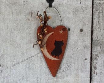 Primitive Fall Decor, Primitive Halloween, Owl, Star, Heart,  Wood, Halloween Decoration, Country Fall Decor, Rustic Fall Decor, Pip Berries