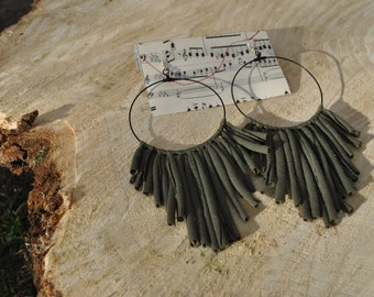 Large Khaki Green Handmade Hoop Earrings Jersey Fabric Feather Frill Dreamcatcher Tribal Burlesque Earth Warrior Festival Olive Recycled