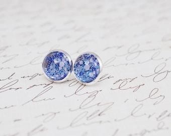 Blue and Silver Studs, Glitter Earrings, Blue Stud Earrings, Glitter Earrings, Nail Polish Jewelry, Faux Plugs, Silver Stud Earrings